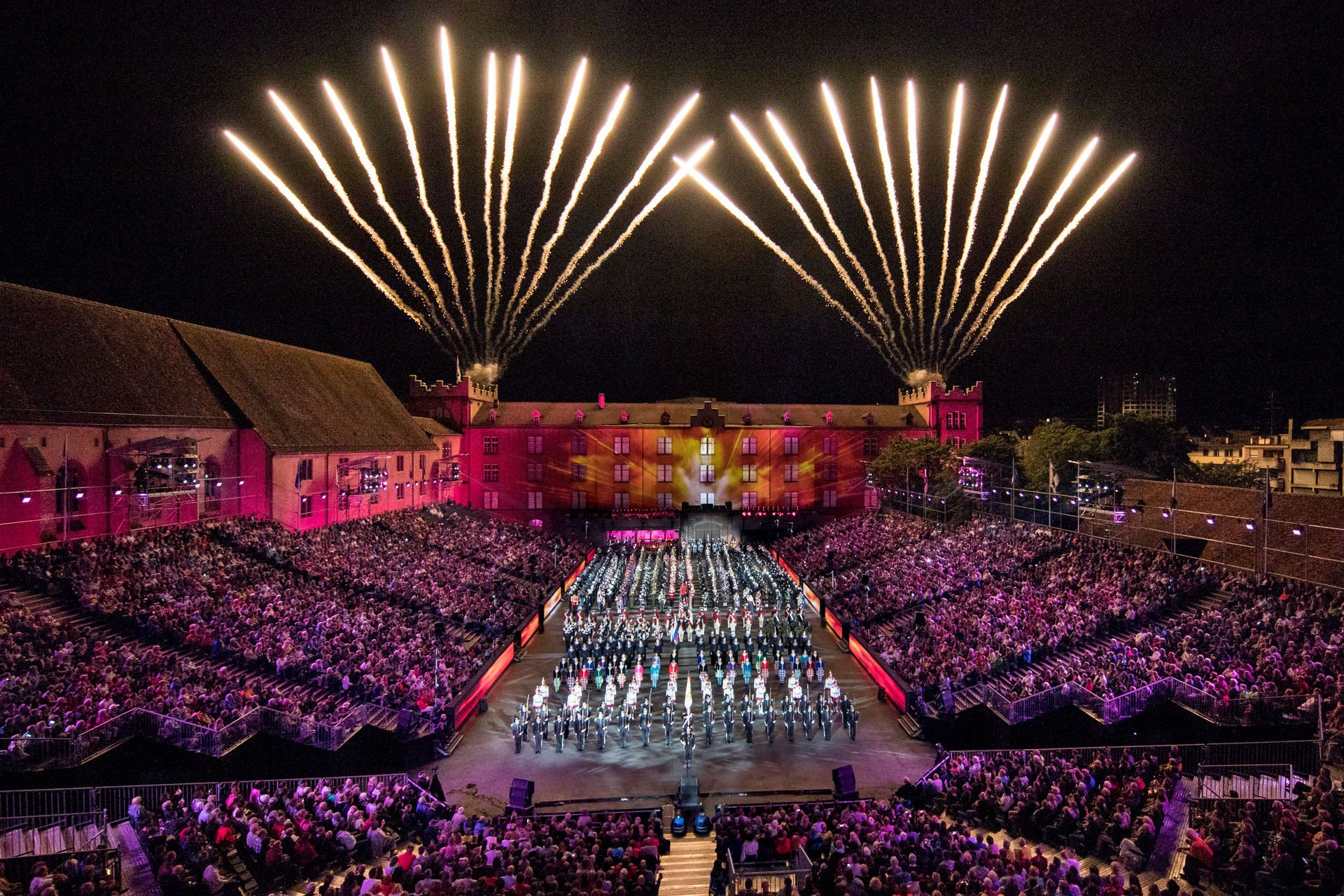 The Cast of the Basel Tattoo 2017,  preforms on stage during the Final of the premiere for the Basel Tattoo, Friday, 21. July 2017, at the Barracks in Basel, Switzerland. The Basel Tattoo is a military music festival held from 21 to 29 July 2017 in the city of Basel. (PRESSEBILDER/Patrick Straub)