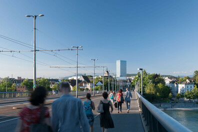 Blick von der Wettsteinbrücke auf Kleinbasel.